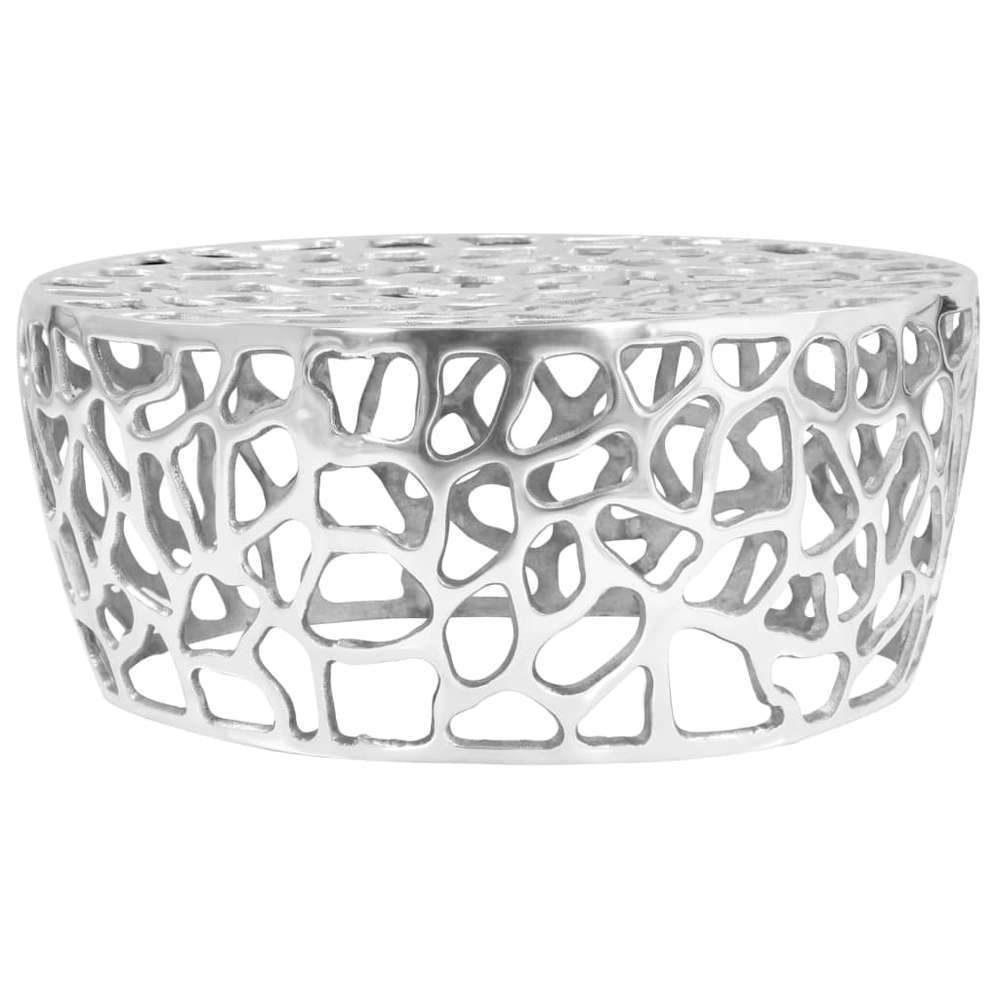 table basse aluminium moule 70 x 30 cm argente