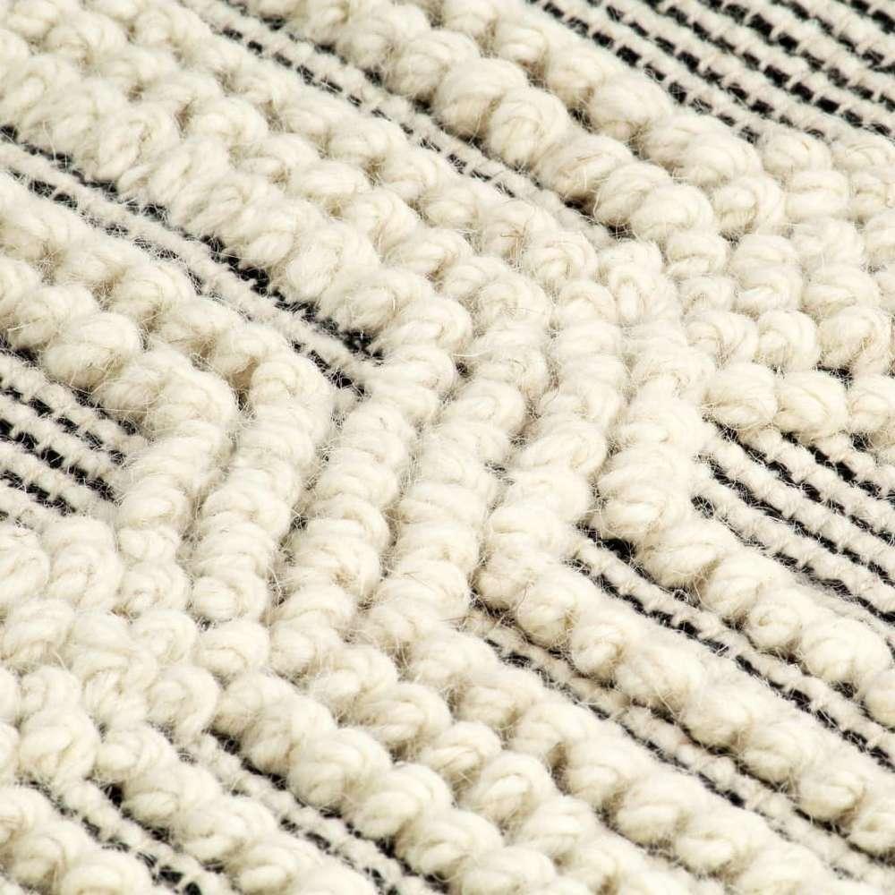 tapis en laine tissee a la main 120x170 cm blanc noir