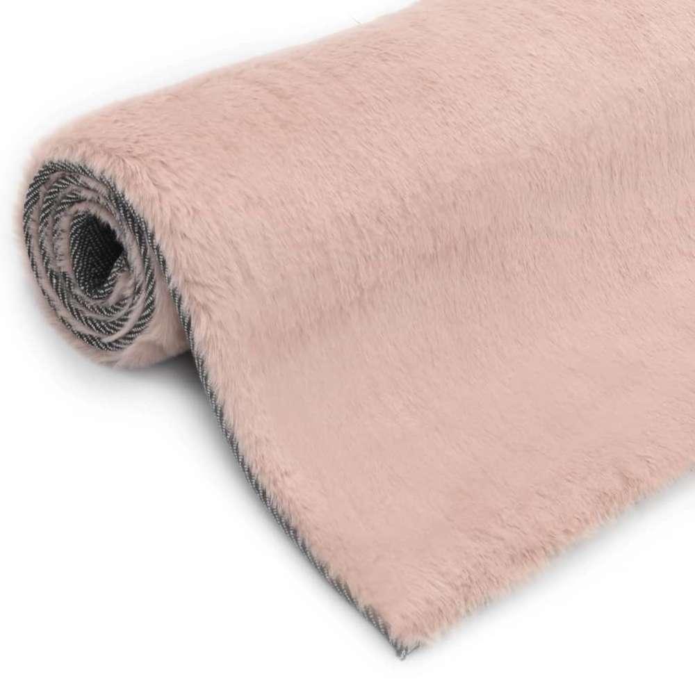 tapis 160x230 cm fausse fourrure de lapin vieux rose