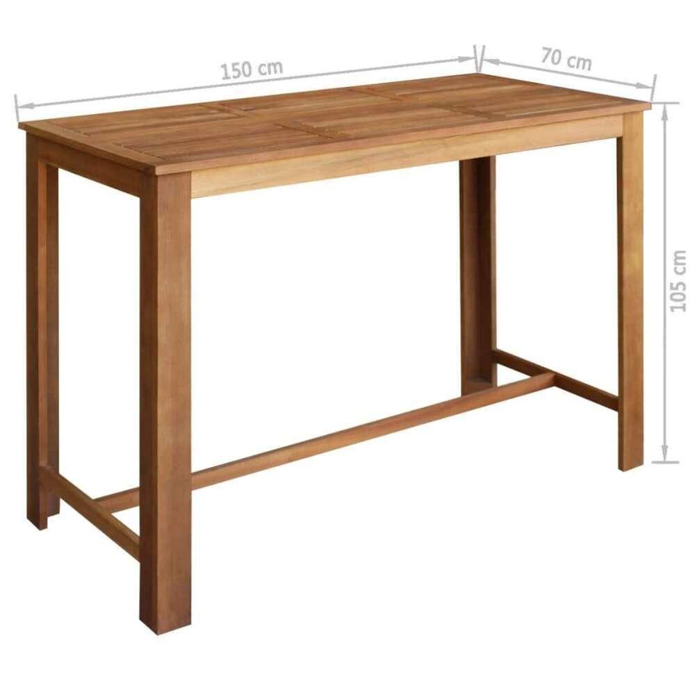 table haute mange debout bar bistrot bois d acacia solide 150cm