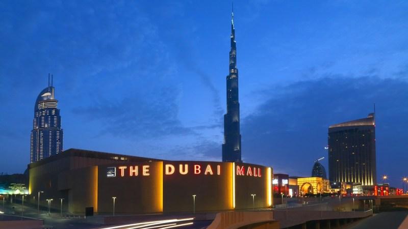 An outdoor shot of the Dubai Mall and Burj Khalifa