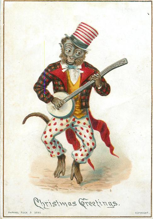 Monkey Wearing Plaid Jacket With Red White And Blue Hat