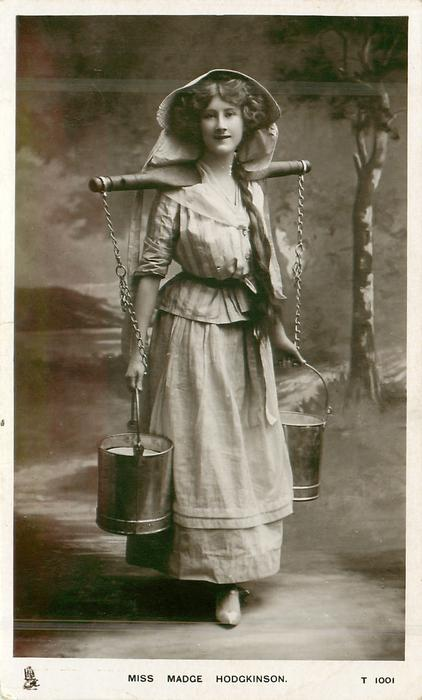 MISS MADGE HODGKINSON As Milkmaid With Yoke Amp 2 Pails