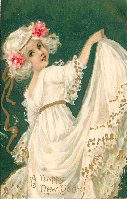 A HAPPY NEW YEAR Girl In White Dress Lifts Her Skirt High