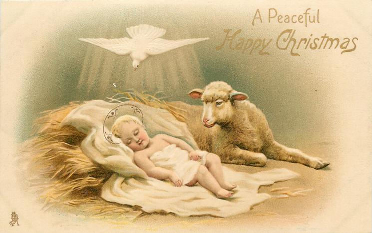 A PEACEFUL HAPPY CHRISTMAS Baby Jesus With Lamb White