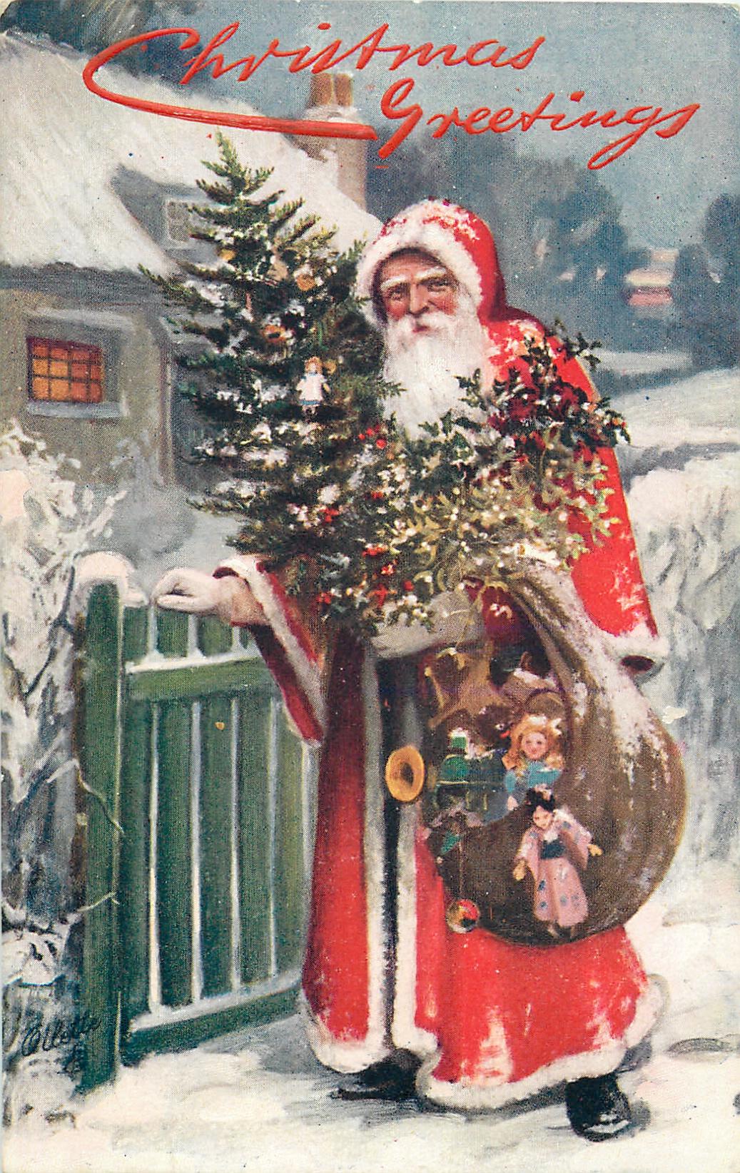 CHRISTMAS GREETINGS Santa Carrying Sack Of Toys Amp Tree