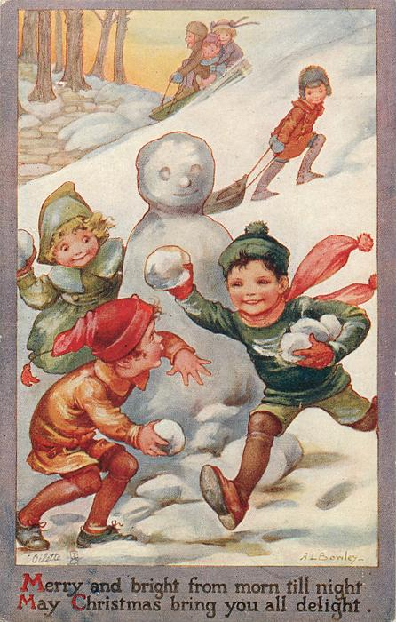 Children Playing In Snow Snowman TuckDB Postcards