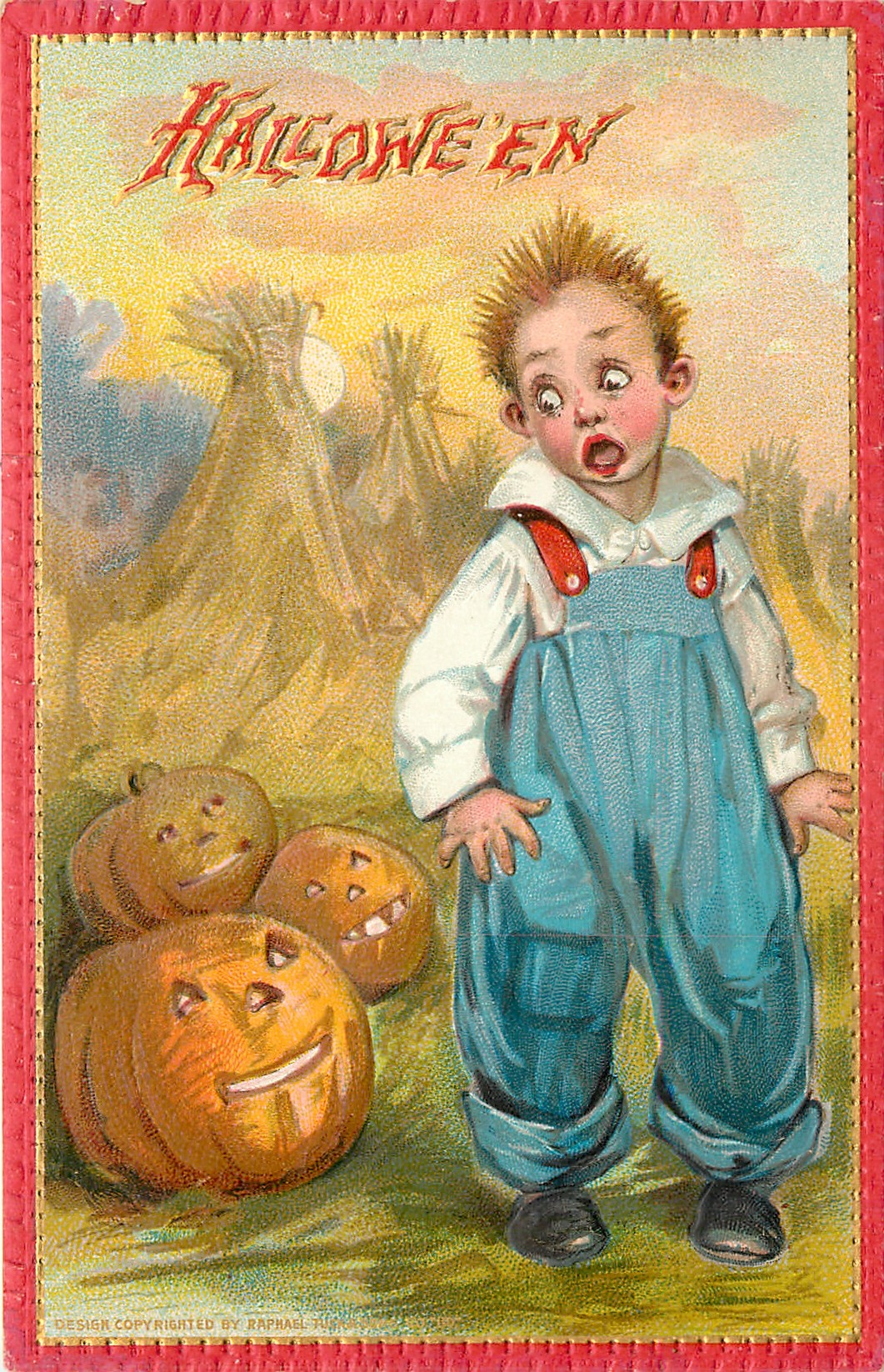 Boy Scared By Three Jack O Lanterns To His Right On Ground