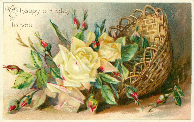 A HAPPY BIRTHDAY TO YOU Basket Of Yellow Roses TuckDB