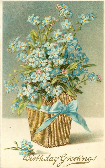 BIRTHDAY GREETINGS Blue Forget Me Nots In Gilt Holder