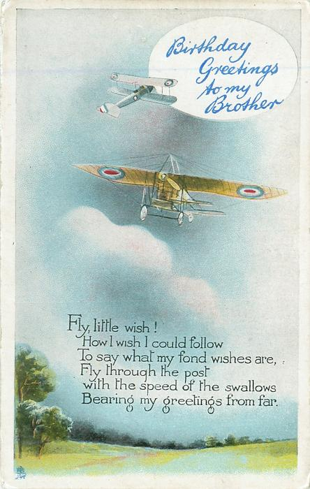 BIRTHDAY GREETINGS TO MY BROTHER Two Old Military Airplanes TuckDB Postcards