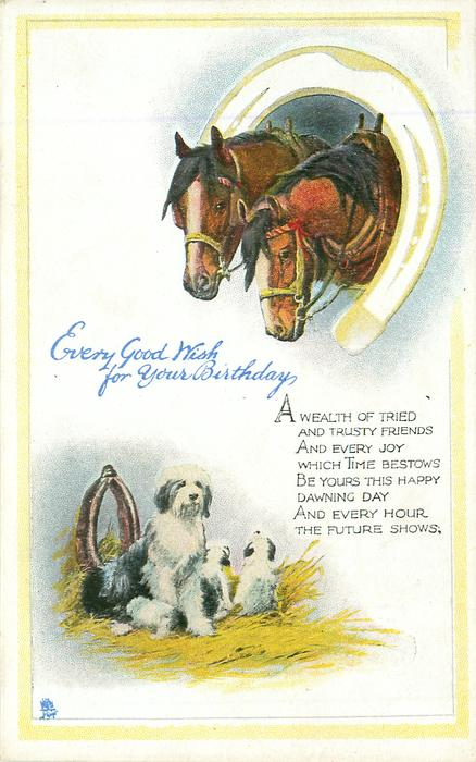 Every Good Wish For Your Birthday Two Horses Inset In Horseshoe Above Sheep Dogs Below Tuckdb Postcards