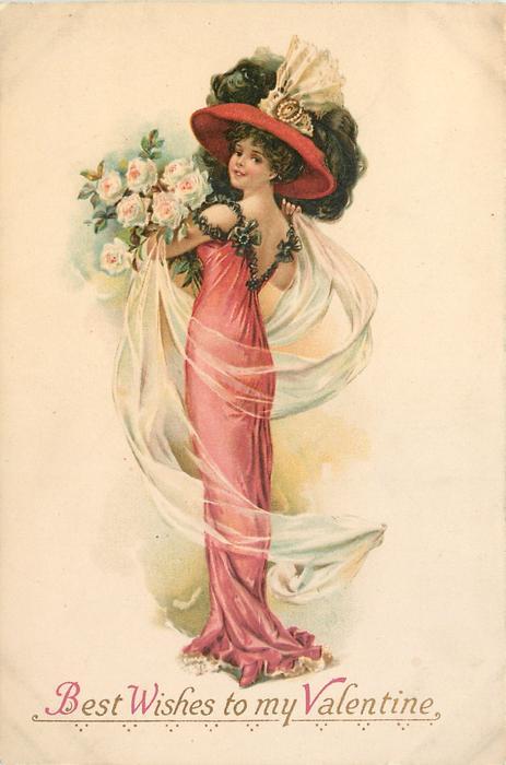 BEST WISHES TO MY VALENTINE Elegant Lady In Red Dress