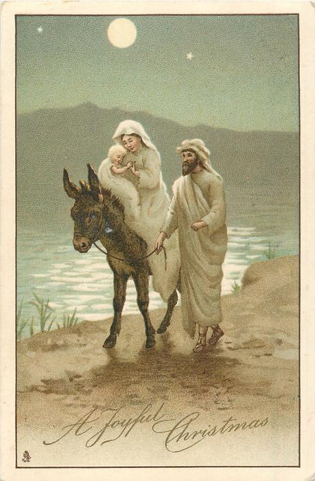 A Joyful Christmas Mary Rides With Jesus On Donkey Joseph