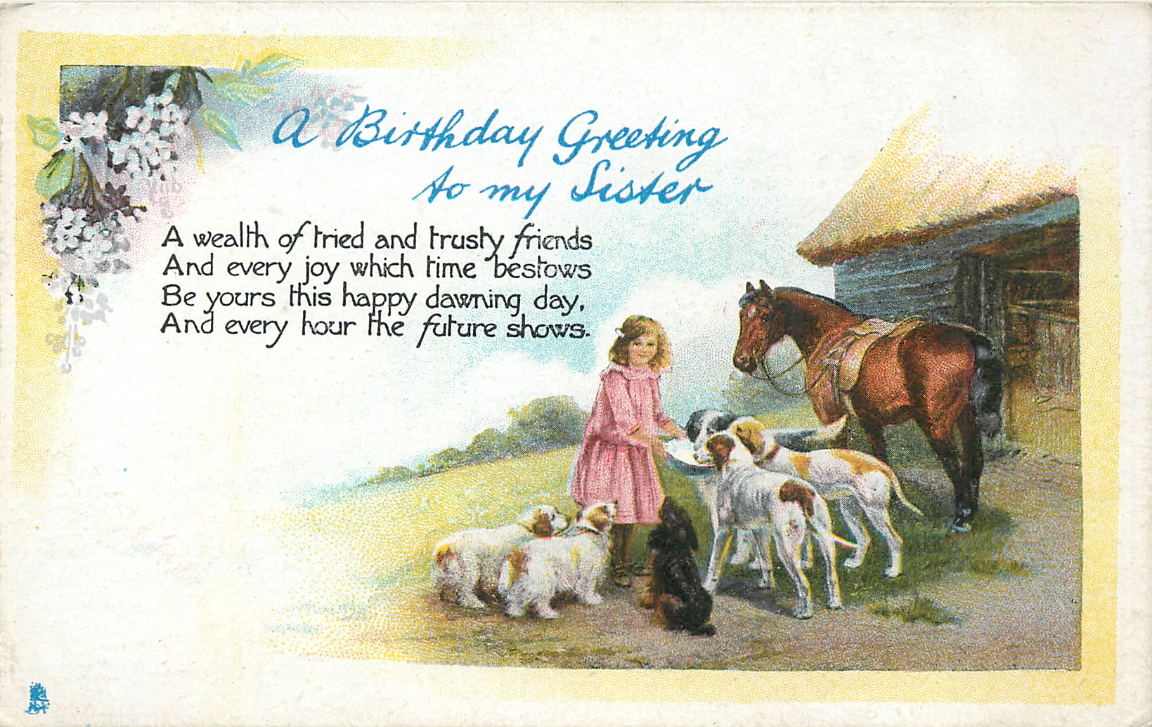 A Birthday Greeting To My Sister Girl Feeding Dogs Horse Barn Right Tuckdb Postcards