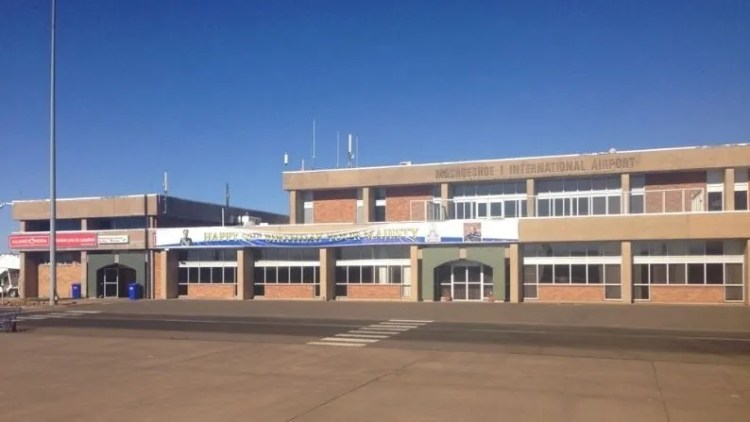 The Kingdom of Lesoth is completely surrounded by South Africa.  The only airport here is Moshoeshoe I airport.  It is officially known as an international airport.  But it only operates non-domestic flights to Johannesburg via South African Airways.  Its shortest runway is 1000 meters.