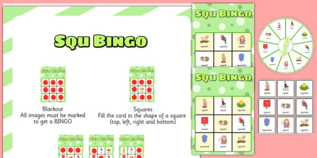 SQU Spinner Bingo Speech Sounds Phonology Articulation