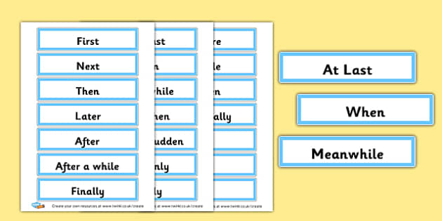 Time Connectives Word Cards