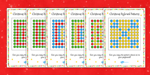 Christmas Peg Board Pattern Cards Puzzle Activity
