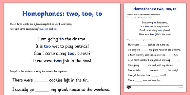 Homophones To Two Too Worksheet