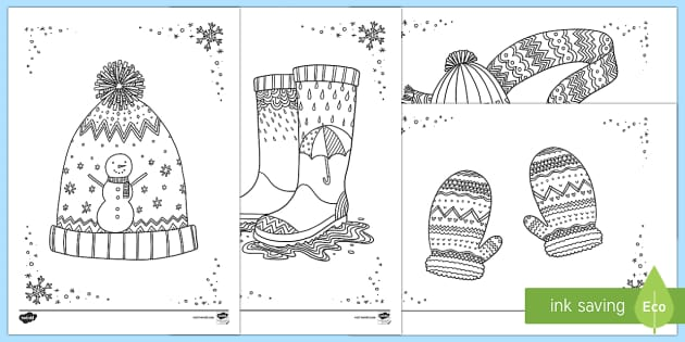 Winter Clothes Mindfulness Colouring Sheets Mindfulness