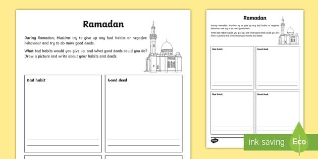 Ks2 Ramadan Good Deeds And Bad Habits Activity Sheet