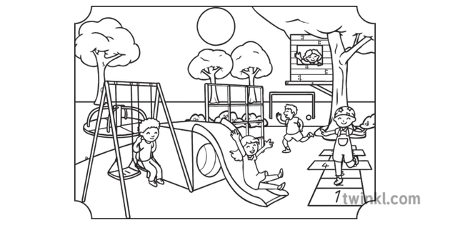 play park scene colouring children playground park ks1