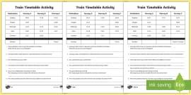 Train Timetable Worksheet