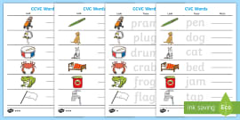 Cvc Word And Picture Matching Mixed Worksheets