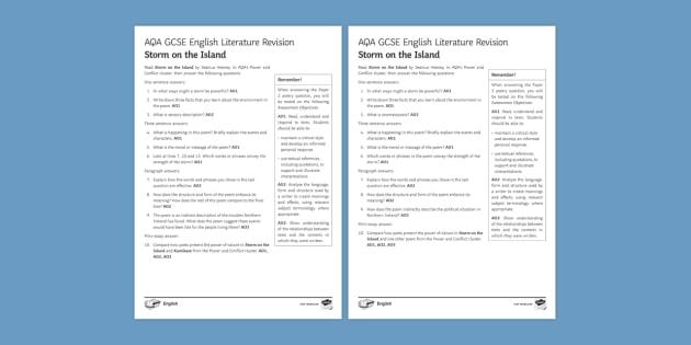 AQA GCSE Poetry Exam Prep - Storm on the Island