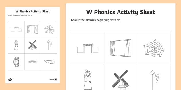 W Phonics Colouring Worksheet Worksheet Teacher Made