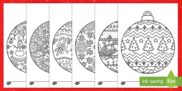 Christmas Baubles To Colour Mindfulness Colouring Sheets