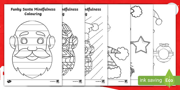 Funky Santa Mindfulness Colouring Pages Teacher Made