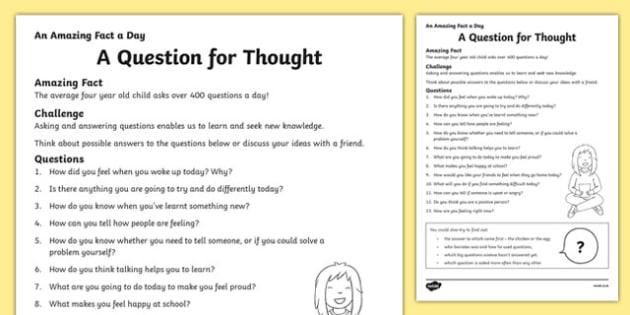 A Question For Thought Worksheet Worksheet Worksheet