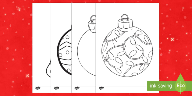 Large Christmas Baubles Colouring Pages Primary Resources