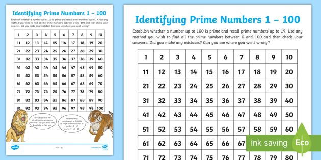 Identifying Prime Numbers To 100 Worksheet Learning From