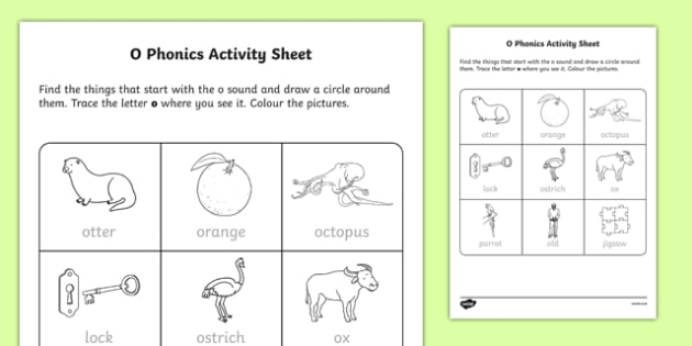 O Phonics Worksheet Worksheet Irish Worksheet