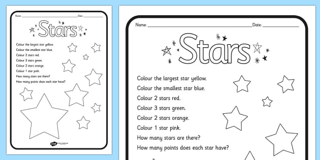Star Colouring Comprehension Sheet