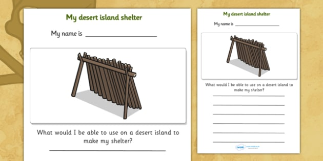 My Desert Island Shelter Pirate Worksheet