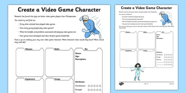 Create A Video Game Character Worksheet Worksheet