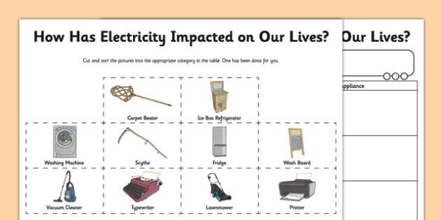 Impact Of Electricity Worksheet / Activity Sheet