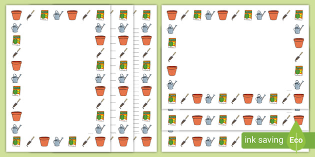Gardening Page Border Design Templates Primary Resources