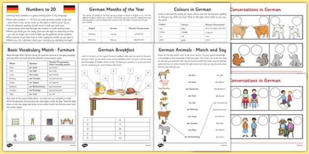Learn German Worksheet Starter Pack German Learn German
