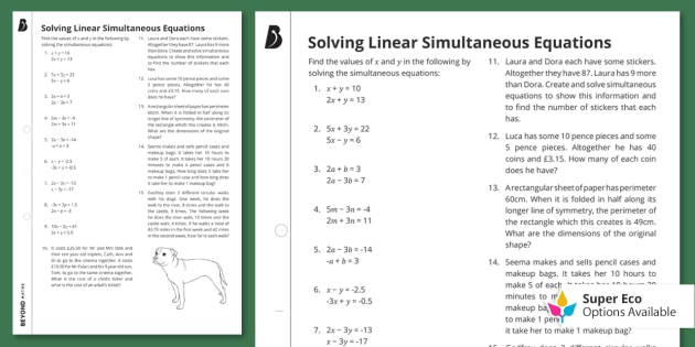 GCSE Maths Revision Tips: Solving Linear Simultaneous Equations Worksheet