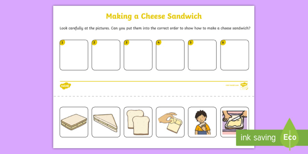 Cheese Sandwich Sequencing Worksheet