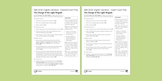 AQA GCSE Poetry Exam Prep - The Charge of the Light Brigade