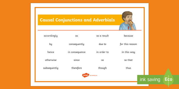 Causal Conjunctions And Adverbials Word Mat