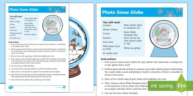 Photo Snow Globe Craft Instructions Teacher Made