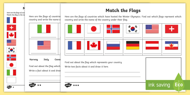 Ks1 Match The Flags Differentiated Worksheet Worksheet