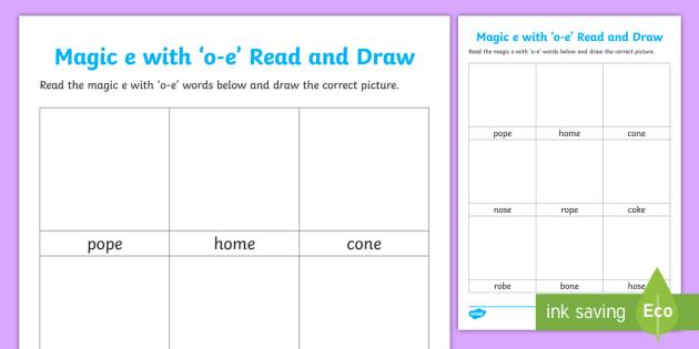 Magic E With O E Read And Draw Activity Sheet